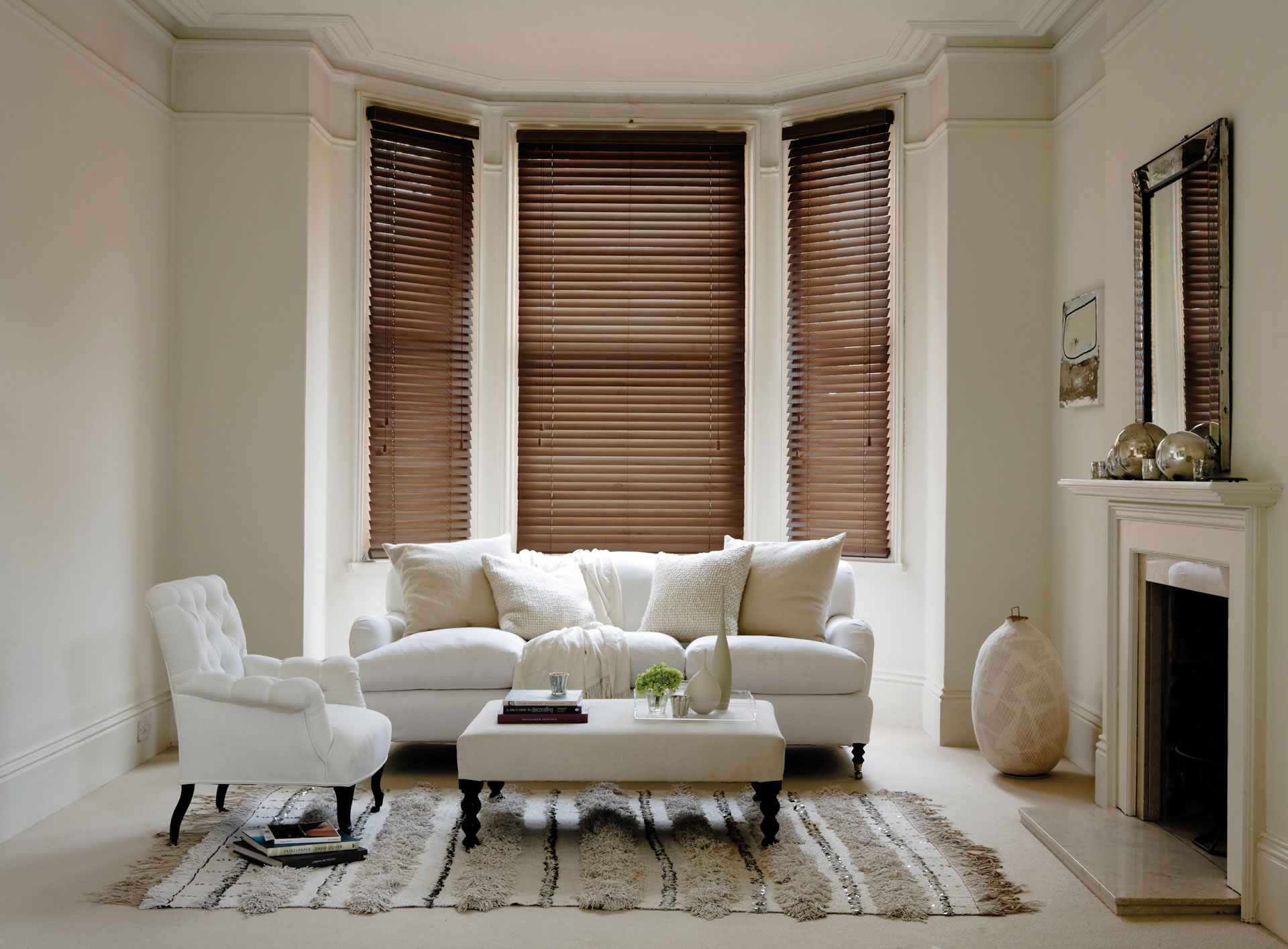 Fired walnut real wood blinds